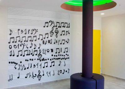 תווים מודפסים הדבקה על קיר